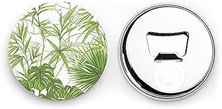 Abrebotellas, Abrebotellas de bambú y plantas tropicales, Imanes de nevera, Abrebotellas con una sola mano Sacacorchos 2 piezas