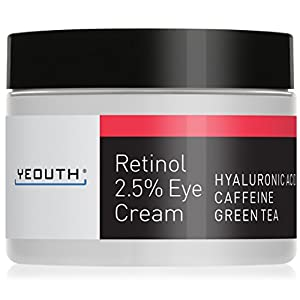 Retinol Eye Cream 2.5% from YEOUTH Boosted w/ Retinol, Hyaluronic Acid, Caffeine, Green Tea, Anti Wrinkle, Anti Aging, Firm Skin, Even Skin Tone, Moisturize and Hydrate - Guaranteed