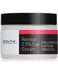 Retinol Eye Cream 2.5% from YEOUTH Boosted w/ Retinol, Hyaluronic Acid, Caffeine, Green Tea, Anti Wrinkle, Anti Aging, Firm Skin, Even Skin Tone, Moisturize and Hydrate - Guaranteed
