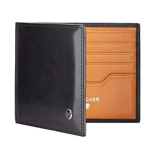 - Luxury calfskin leather wallet in black and orange - 8 card slot