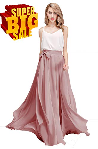Honey Qiao Chiffon Bridesmaid Dresses High Waist Long Woman Maxi Skirt (Large, Dusty Rose)