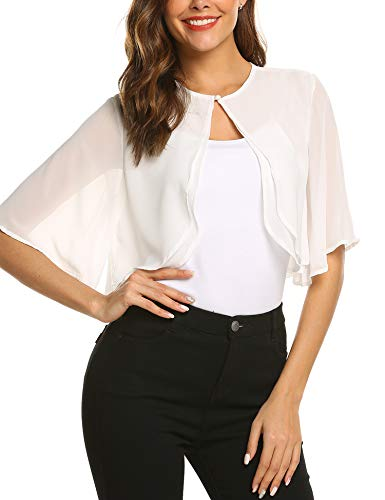 (Teewanna Women's Short Sleeve Bolero Sheer Chiffon Shrug Cardigan, White, XXL)