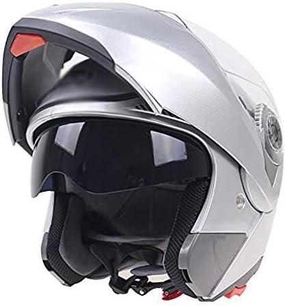 ヘルメット発見ヘルメットヘルメットヘルメットオートバイヘルメットダブルレンズヘルメットヘルメット電気自動車フルヘルメット自転車のサイクルヘルメット105フルヘルメット,Silver,XL