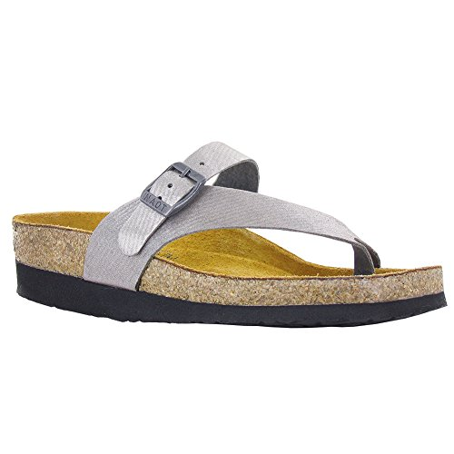 Naot Women's Tahoe Toe Ring Sandal, Silver Threads Leather, 42 EU/10.5-11 M US