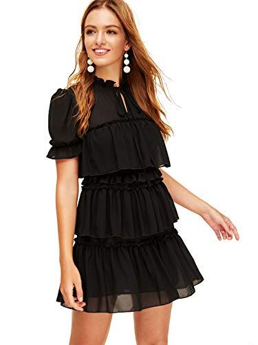 Romwe Women's Vintage Short Sleeve Tie Neck Ruffle Trim Layered Mesh Mini Dress Black - Dress Tiered Mesh