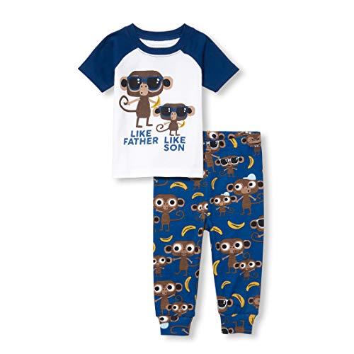 The Children's Place Baby Boys Novelty Printed Shorts Pajama Set, White -