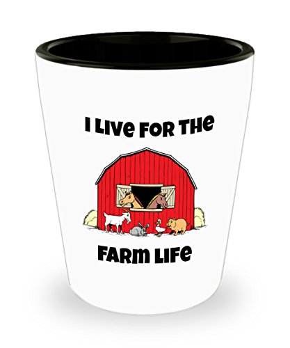 Farm Shot Glass 1.5 oz Ceramic I Live For The Farm Live Shots In The Barn with The farm Animals