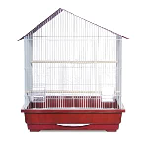 Prevue Pet Products Offset Roof Cockatiel Cage, Red and White