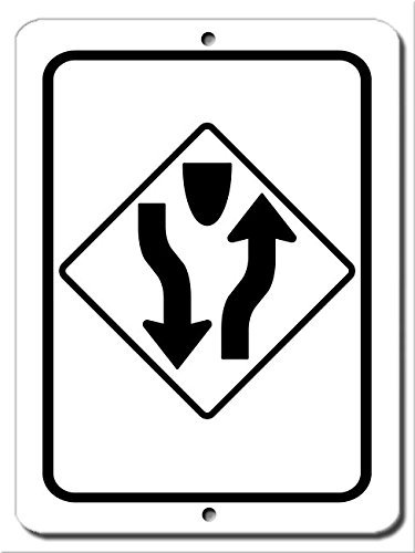 Teisyouhu Wall Art Decorative Signs Divided Highway Road Sign Metal Room Plaque Funny Aluminum Sign ()