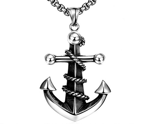LATIBELL Men's Stainless Steel Pendant Necklace Pirate Ship Anchor Nautical Large with Link - Flat Link Large