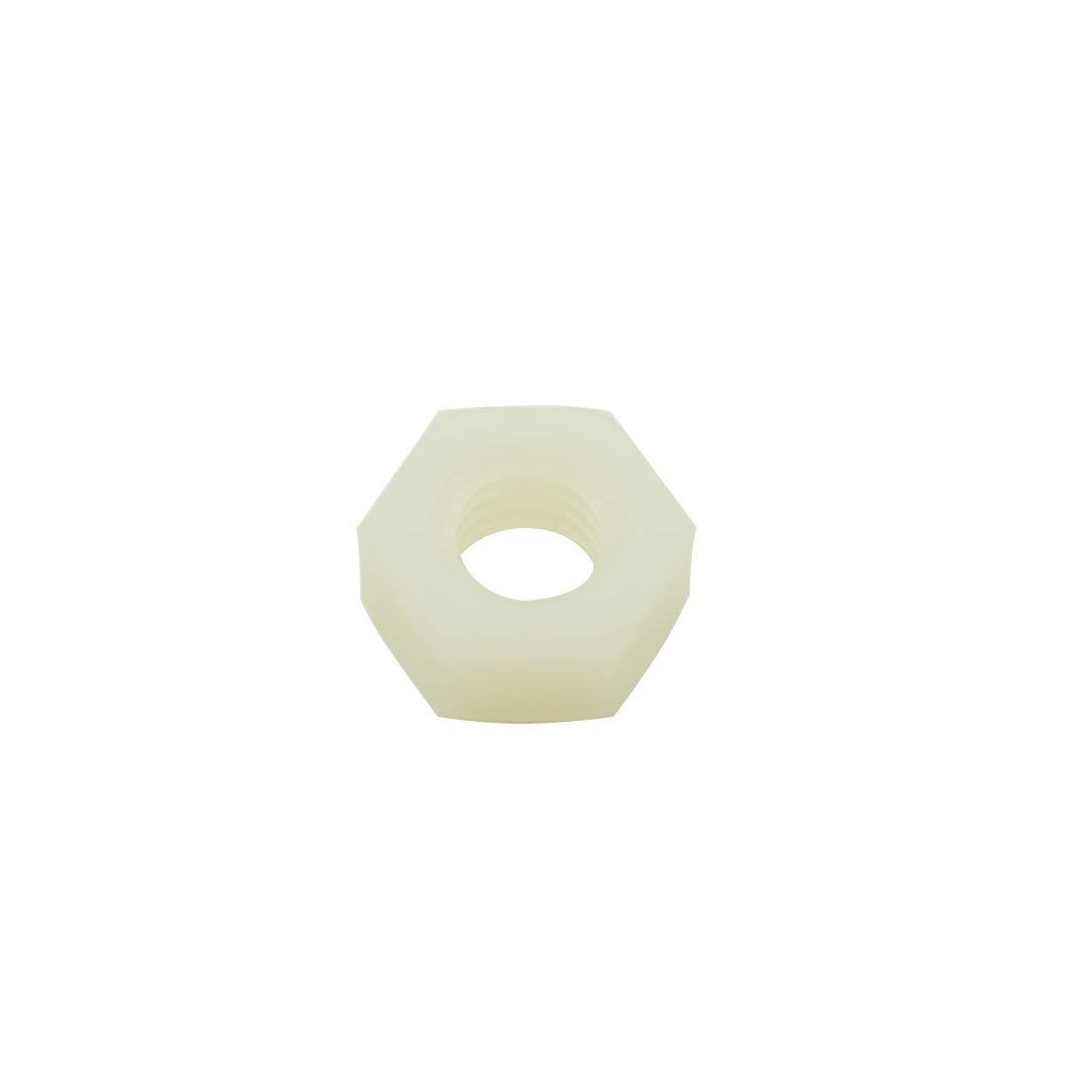 100 Pcs Hxchen M6 Nylon Hex Nut Metric Thread Plastic Hexagon Nuts White