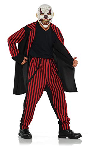 Circus Sideshow Halloween Costumes (Underwraps Men's Sinister Evil Clown Costume-Sideshow, Red, Double)