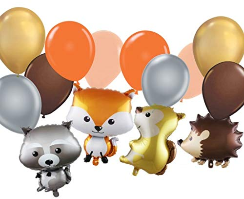 Woodland Creatures Balloons - Woodland Creatures Animal Shaped Decorations for Baby Shower or Birthday Party Celebration- (14 Balloons)]()