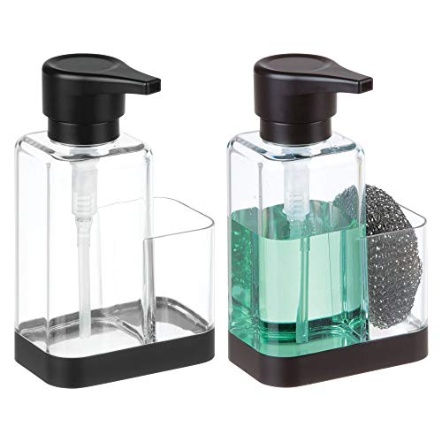 mDesign Modern Plastic Kitchen Sink Countertop Liquid Hand Soap Dispenser Pump Bottle Caddy with Storage Compartment - Holds and Stores Sponges, Scrubbers and Brushes - Pack of 2, Clear/Matte Black ()
