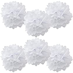 "WYZworks Set of 6 - WHITE 14"" - (6 Pack) Tissue Pom Poms Flower Party Decorations for Weddings, Birthday, Bridal, Baby Showers, Nursery, Décor"
