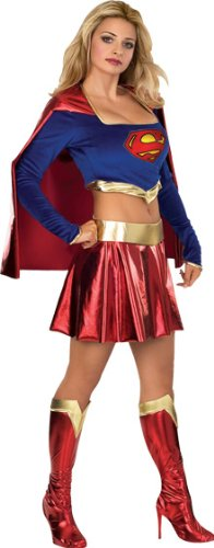 Secret Wishes Adult Supergirl Costume, Blue/Red, Large (Make A Wish Costumes)