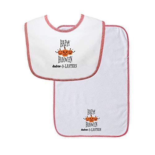 Custom Text Halloween Happy Halloween Scary Pumpkin O Lantern Cotton Boys-Girls Baby Bib & Burb Set Gingham Trim - Red, One Size ()