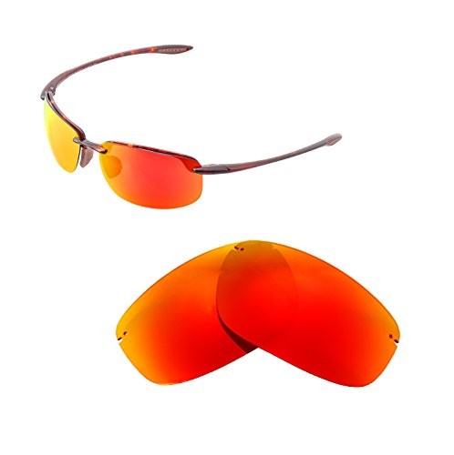 1 Light Hookipa Outdoor - Walleva Replacement Lenses for Maui Jim Ho'okipa Sunglasses - Multiple Options Available (Fire Red - Polarized)