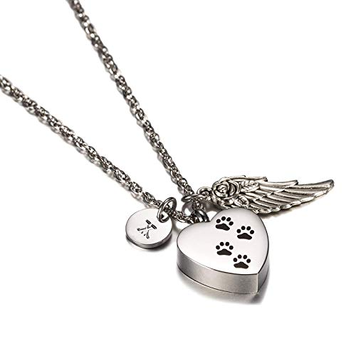 EoCot Stainless Steel Necklace for Women Men Heart with Dog Paw, Angel Wings & 26 Letter Cremation Urn Necklace for Ashes Urn Jewelry Memorial Pendant X ()