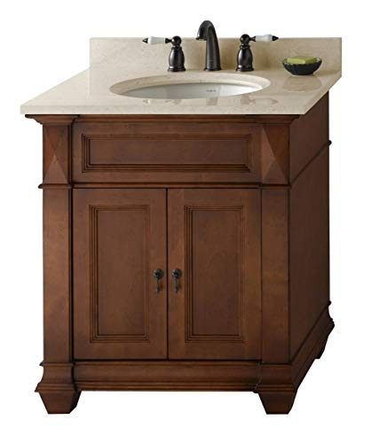 RONBOW Torino 31 inch Bathroom Vanity Set in Colonial Cherry, Bathroom Vanity with Top and Backsplash in Marble with 8 inch Widespread Faucet Hole, White Oval Ceramic Vessel Sink