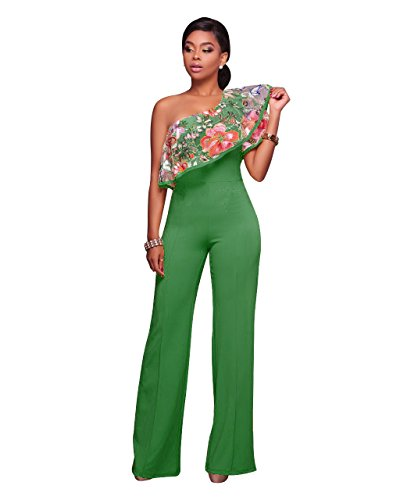 - Women's Sexy One Shoulder Floral Embroidery High Waisted Wide Leg Jumpsuits Rompers Green, Medium