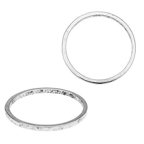 Nunn Design Ring, Hammered Thin Circle Size 6, 1 Piece, Antiqued Silver