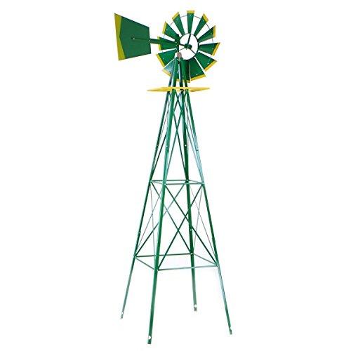 Eminentshop 8FT Metal Windmill Yard Garden Decoration Rust Resistant Green
