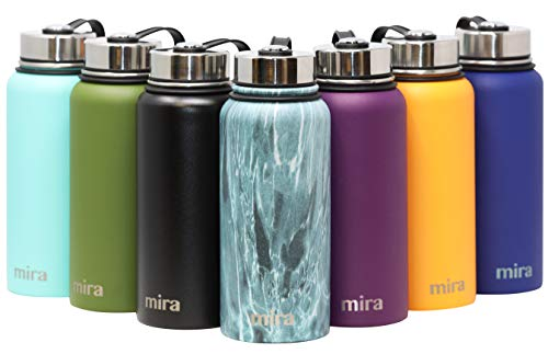 MIRA 32 Oz Stainless Steel Vacuum Insulated Wide Mouth Water Bottle | Thermos Keeps Cold for 24 Hours, Hot for 12 Hours | Double Wall Powder Coated Travel Flask | Blue Granite