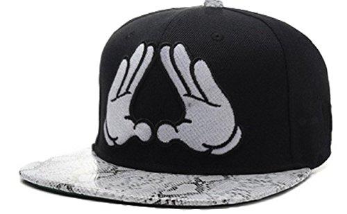 (YCMI Adjustable Mickey Hands Snakeskin Print Black Snapback Cap Hat for Men Baseball Cap)