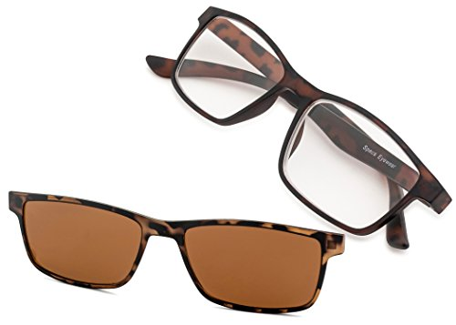Specs Havana Reading Glasses With a Sun Clip 1.00