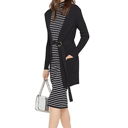 Michael Kors Womens Stretch-Viscose Ribbed Belted Cardigan (Belted Ribbed Sweater)