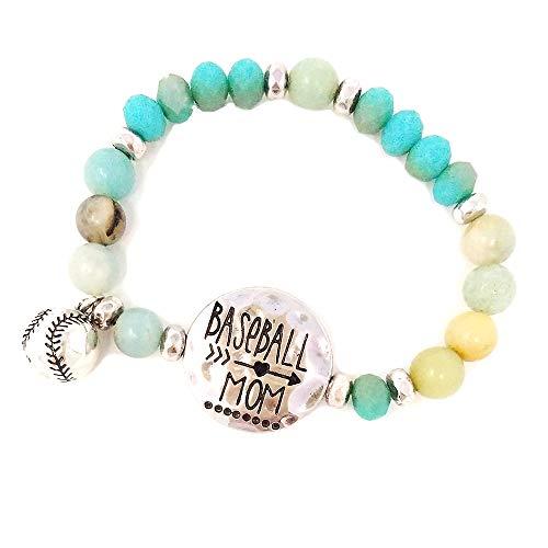 Emulily Baseball Mom Beaded Stretch Bracelet with Baseball Charm