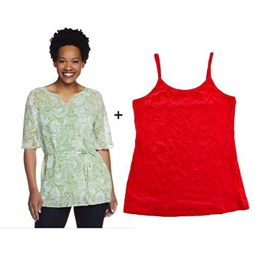 Isaac Mizrahi Live Etched Floral Print Tunic With Tank Flame Small
