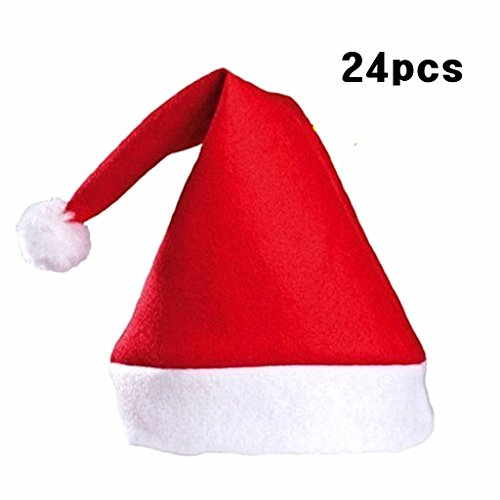 Kinteshun Christmas Santa Hat Economical Felt Santa Claus' Cap Xmas Hat(24pcs,One Size Fit All,Upgraded the Size & material in 2018) -