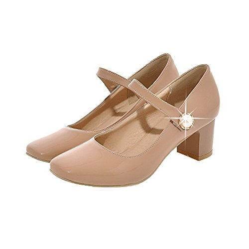 Odomolor Women's Patent Leather Kitten-Heels Hook-and-Loop Solid Pumps-Shoes Apricot pTX27DyeaH