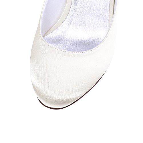 de La Satén Elegantpark Zapatos Talón Cerradas Toe Bombas Chunky Boda Marfil Mujeres Strap Tobillo AwRqCFH