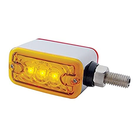United Pacific 38842 3 LED Double Face Light - Amber & Red LED/Amber & Red Lens, 1 Pack