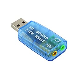 USB 2.0 Sound Card 3D 7.1CH Adapter for PC Desktop Notebook Laptop External - WDLLC