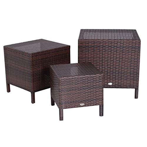 3 Piece Outdoor Compact Nesting Table Patio Dining Set Side End Table Rattan Wicker Furniture Space Saving Design 3 Sizes Multifunctional Lightweight Outdoor Indoor Use Brown ()