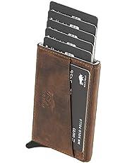 Solo Pelle Kartenetui mit RFID Schutz bis 11 Karten Portmonee Geldbeutel Kreditkartenetui Mech Echtes Leder in Vintage Braun (Used Look)