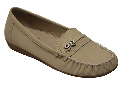 Rhinestone Buckle Bow (Belladia Boss-04 Women's round toe moccasin rhinestone bow knot golden buckle suede slip on flat shoes Beige 7)