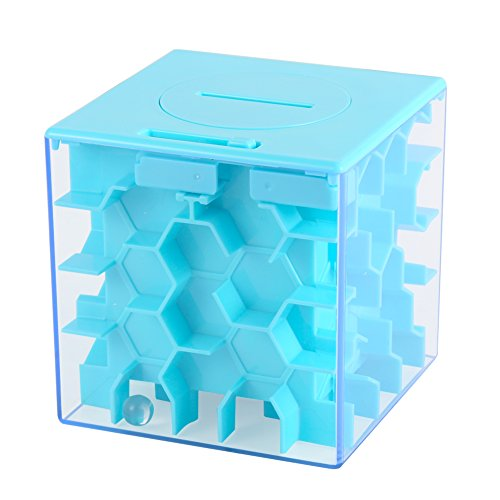 Sakiyr Money Maze Bank, Blue Honeycomb Maze Puzzle Box for Kids and Adults Funny Birthday XMAS-Gift