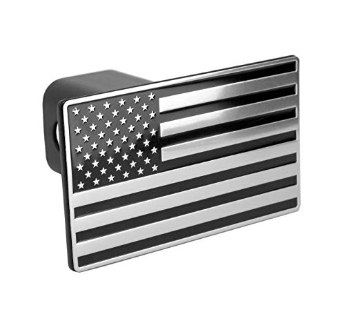 (eVerHITCH US American Black & Chrome Flag Emblem Trailer Metal Hitch Cover Fits 2