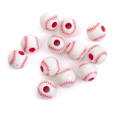 Crafts Team Sport Beads Acrylic Baseball Red and White 12mm (6-Pack) 1940-61 (1940 Baseball)