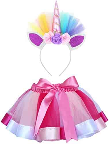 Loveyal Little Girls Layered Rainbow Tutu Skirts with Unicorn Horn Headband