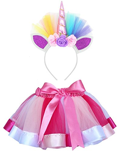 LYLKD Little Girls Layered Rainbow Tutu Skirts with Unicorn Horn Outfit Princess Ballet Dance Costumes (Rose, L,4-8 Years) -