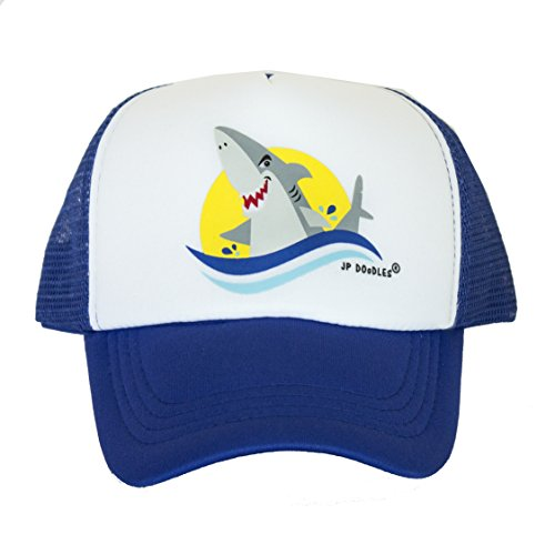JP DOoDLES® Shark On Kids Trucker Hat. The Kids Baseball Cap Is Available In Royal Blue or Black Mesh Back. The Kids Ball Cap Fits (Kiddo 2.5-6 Years, Royal (Childs Ball Cap)