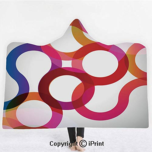 "(Abstract 3D Print Soft Hooded Blanket Boys Girls Premium Throw Blanket,Composition with Curves Vivid Colorful Twisted Forms Overlaps Modern Art Elements Decorative,Lightweight Microfiber(Kids 50""x60""))"