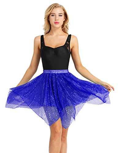 YONGHS Women#039s Glitter Sequins Polka Dots Asymmetric Latin Dance Wrap Over Scarf Tutu Skirt Blue One_Size