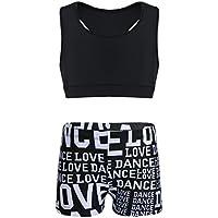 MSemis Girls' Kids 2-Piece Sport Dance Outfit Crop Top with Booty Shorts Gymnastics Leotard Dance Swimwear
